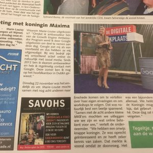 2016November 2016: Ontmoeting met Koningin Máxima tijdens de Digitale Werkplaats op Vliegbasis Twente. Wederom op uitnodiging van Google.